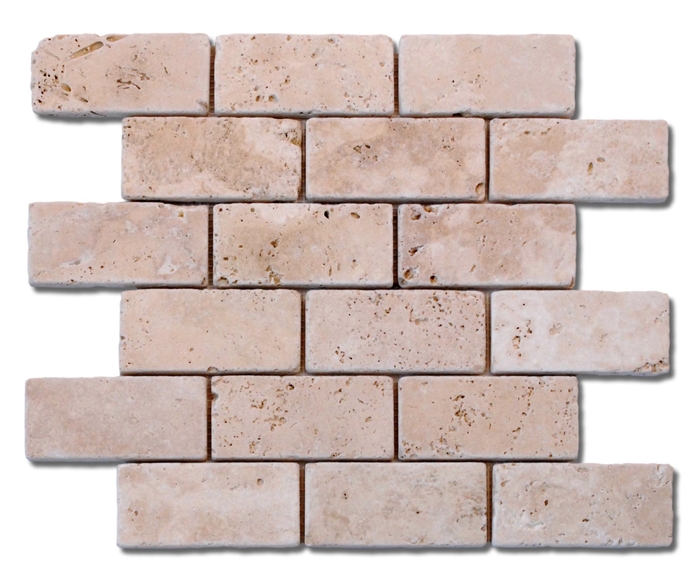white travertine anatolia tile brick mosaic backsplash 2