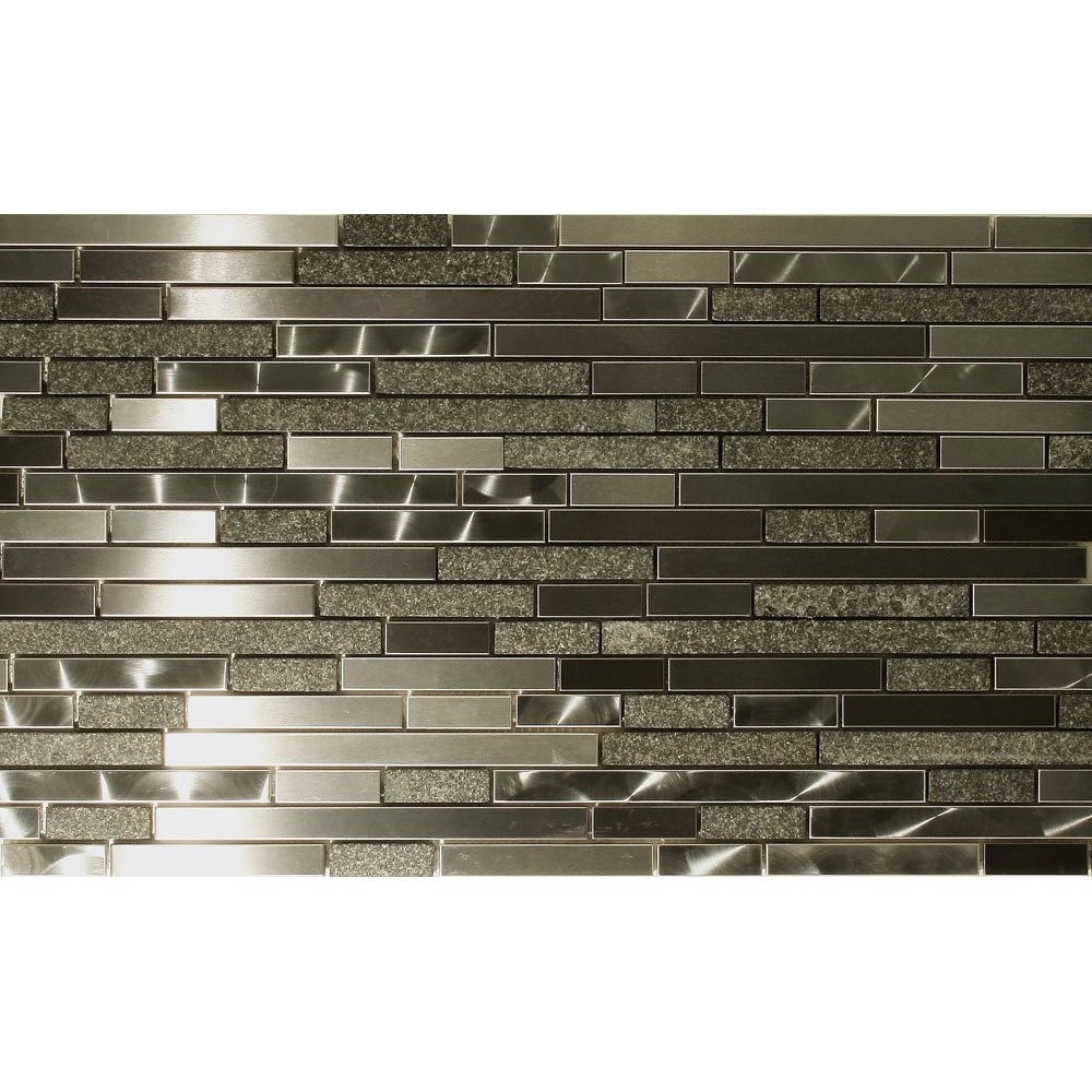 Stone and stainless steel marme random strip mosaic backsplash glass tile today - Mosaic kitchen ...