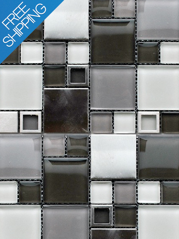 Glass tile and stone backsplash